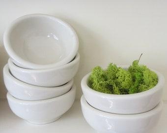 6 Vintage white ironstone bowls Set of small ironstone bowls Made in America Made in USA Little ironstone bowls Small bowls Matching bowls