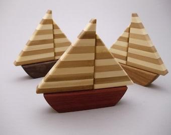 Sailboat - bamboo sails - toy boat - nautical theme - handmade