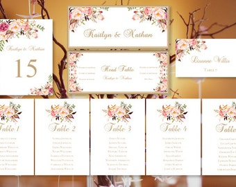 Reception seating etsy wedding seating chart romantic blossoms floral table sign templates table numbers place card tent reception seating plan set diy u print solutioingenieria Images