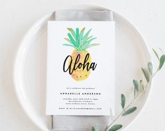 Editable Template - Instant Download Aloha Pineapple Graduation Dinner Invitation