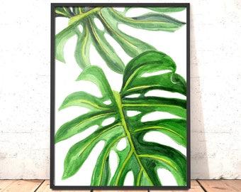 Monstera Leaf Print | Tropical Print | Wall Decor | Botanical Wall Print | Palm Leaf Print | Plant Leaf Print | Botanical Leaves Art