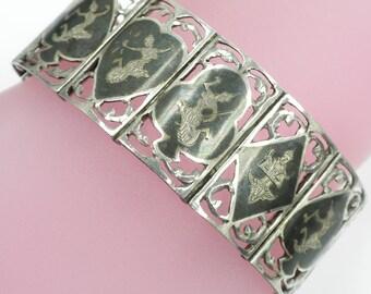 Vintage Siam Silver Bracelet 6.4 inches Long