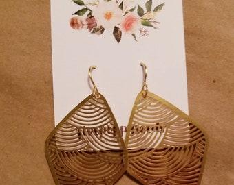 Gold scallop detail hook earrings
