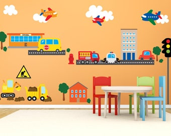 Car Wall Decals, Airplane Wall Decal, Construction Truck Wall Decal  Stickers, REUSABLE Kids