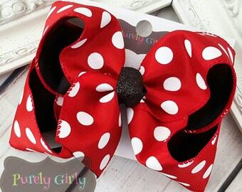 Red Polka Dot Hairbow Black Large Double Layer Bow Minnie Bow Extra Large