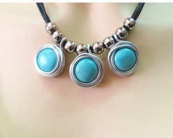 Silver And Turquoise Jewelry, Silver And Turquoise Necklace, Wrapped Turquoise Necklace, Turquoise Jewelry, Turquoise Statement Necklace