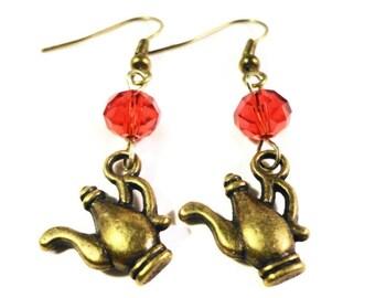 Teapot Charm Earrings, Ruby Red Crystal Bead Earrings, Bronze Tea Pot Earrings, Beaded Dangle Earrings, Women's Beadwork Jewelry, Gift Idea