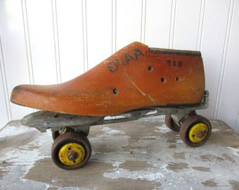 Vintage wooden shoe form cobblers last assemblage and rusty roller skate Shabby Rustic industrial Farmhouse N2