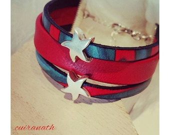 Woman in red leather and star Cuff Bracelet silver