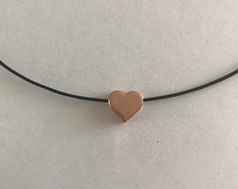 Rose gold 10mm heart charm on wax cord choice color