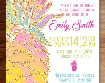 Custom digital or printed invitation + FREE SHIPPING!  Pineapple party invitations!!  birthday, shower, wedding