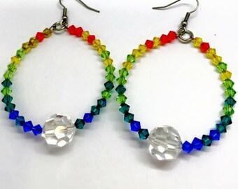 Rainbow Hoops with Swarovski Crystals