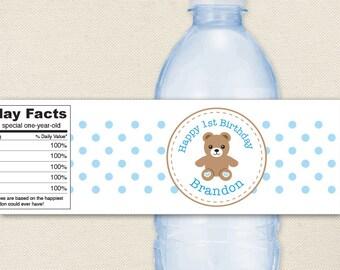 Teddy Bear Party in PINK or BLUE - 100% waterproof personalized water bottle labels