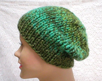 Green striped beanie hat, skull cap, striped hat, emerald jade olive green hat, tweed hat, toque, green hat, mens womens knit hat, chemo cap