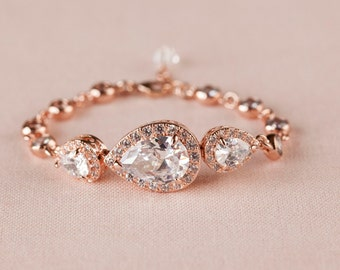 Crystal Bridal Bracelet Swarovski Rose Gold Wedding Jewelry