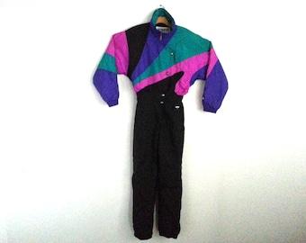 Rad Vintage 90s Fera Ski Suit Color Block Snowboarder Women's 12