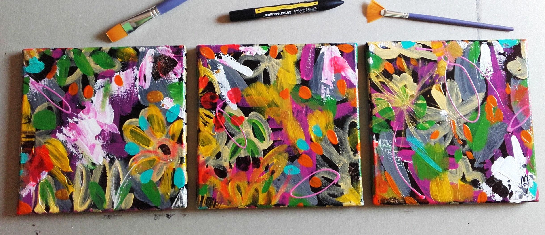 Triptychon Kunst abstrakte Blumen Garten zeitgenössische