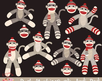 Sock Monkeys2 Clipart Set