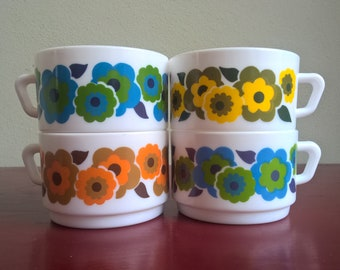 set of 4 vintage French Arcopal Lotus bowls, coffee mugs, pyrex made in France
