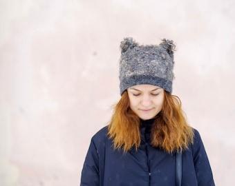"Women hat Felt hat ""Grey curls"" Hat with curls Unique wild handmade Felt cap"