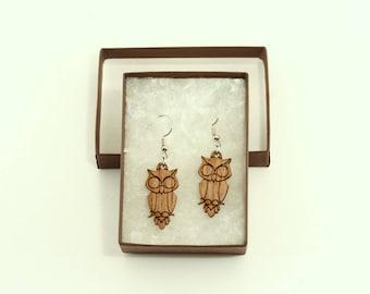 Walnut Owl Earrings - Owl Dangle Earrings