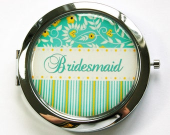Personalized compact mirror, compact mirror, pocket mirror, flower mirror, floral, personalized, custom, purse mirror, stripes (2896)
