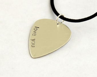 I Love You Guitar Pick Necklace in Sterling Silver – 925 GPNL7135