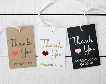 Set of 18 - Wedding Favor Thank You Tags - ANY COLOR - 2x3 inch Hang Tags