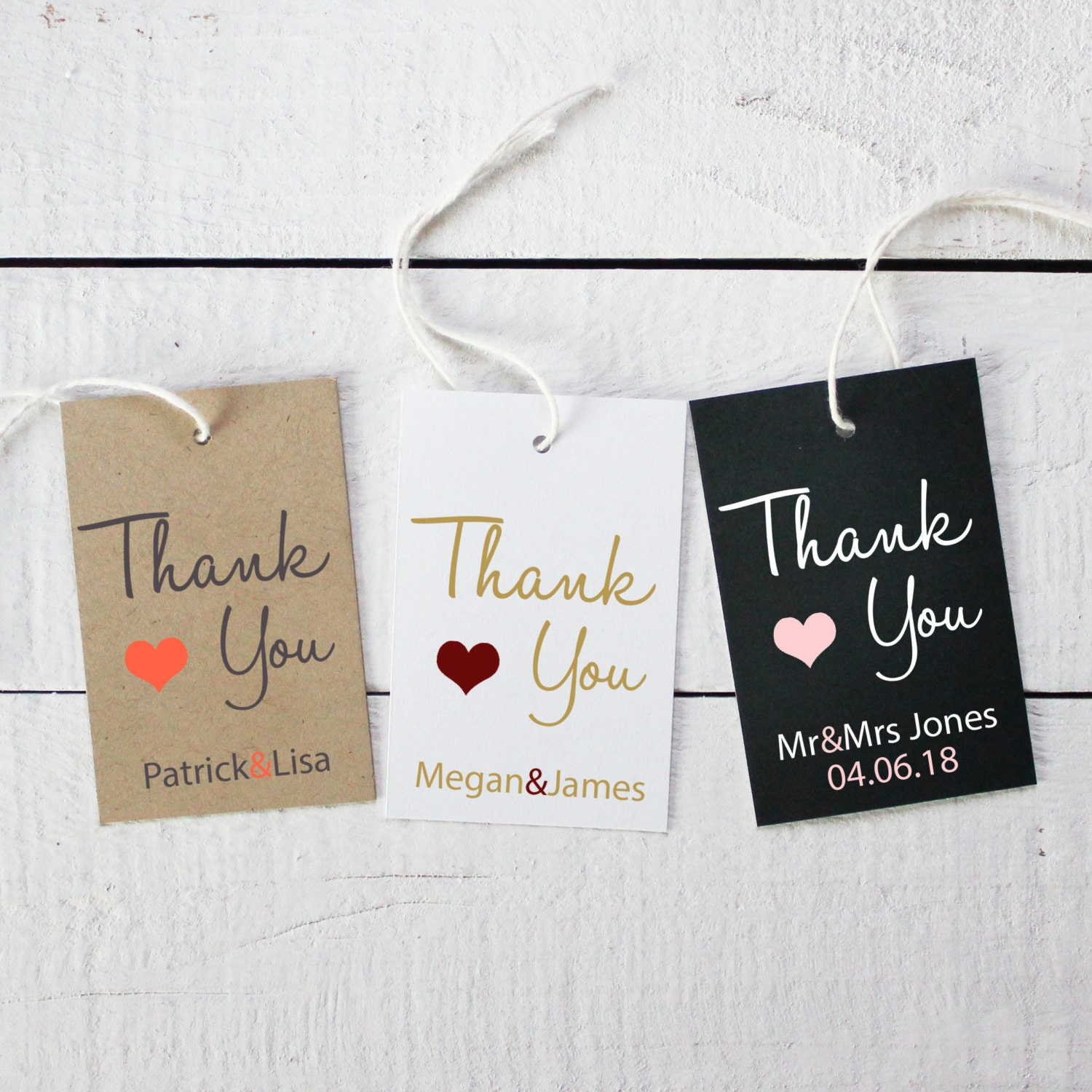 Set of 18 Wedding Favor Thank You Tags ANY COLOR 2x3