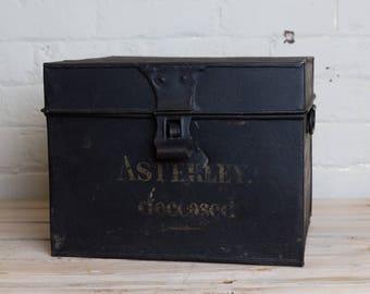 Vintage Black metal painted box, storage, office, den, metro home,industrial home.
