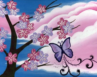Pink and purple cherry blossom clouds acrylic painting poster print, pink purple sakura dreamy clouds painting