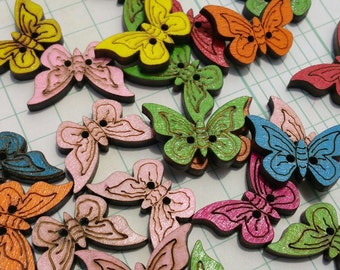 """Wood Butterfly Buttons - Colorful Wooden Butterflies Button - Sewing Crafting Butterflies - 1 1/8"""" Tall - 3/4"""" Wide"""