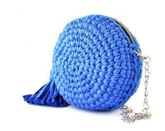 Royal blue round bag, crochet purse, round shoulder bag boho, tassel bag, circle bag, shoulder purse, blue crossbody bag  purse cross body