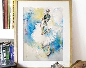 "Watercolor Print - ""Deja Vu"". Dancing ballerina art print."