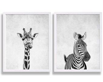 Two Animal Prints Giraffe Print African Safari Art Zebra Print Cute Nursery Decor Baby Animal Nursery Prints Newborn Gift Grey Nursery Decor