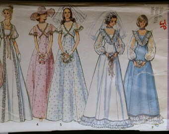 Vintage 70s Sewing Pattern Wedding Dress/Bridesmaid Pattern Simplicity 6399 Sz 6