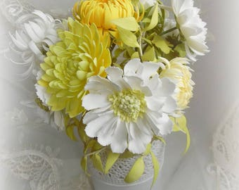 Autumn flowers, pots, interior, design, flowers in the house, chrysanthemums, white flowers, yellow flowers