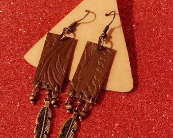 Leather Feather Earrings, Leather Earrings, Embossed Leather Earrings, Feather Earrings