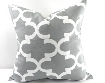 Cool Grey Moroccan Pillow cover. grey and white Quatrefoil Lattice Trellis Pillow Cover Sham Pillow case.Select your size.
