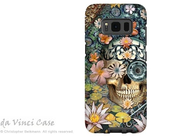 Floral Skull Case for Samsung Galaxy S8 - Dia De Los Muertos Galaxy S 8 Case with Botanical Sugar Skull - Bali Botaniskull - Dual Layer Case
