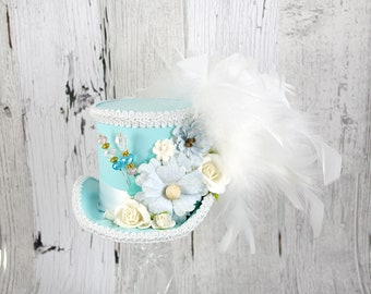 Light Teal, Blue, and White Flower Medium Mini Top Hat Fascinator, Alice in Wonderland, Mad Hatter Tea Party, Derby Hat