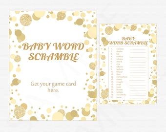 Gold and White Baby Shower Games, Baby Word Scramble Game, Boy Girl Baby Shower, Gold Glitter Dots, Baby Shower Sign Printable CB0003-g