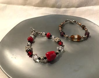 Handmade Jewelry Bracelet Duo: Red, Brown, Statement pieces on Sale!