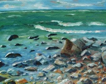 Water, rocks and sky.... Oil on canvas board. 11x14 inches.