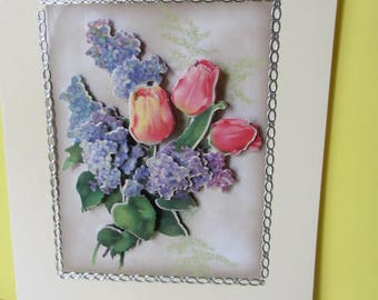 Card 3D bouquet of tulips and LILACS