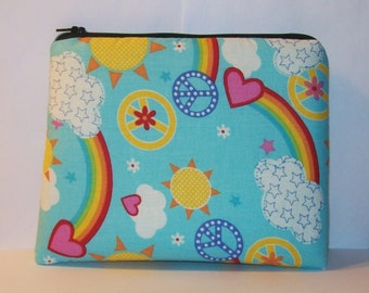 "Pipe Pouch, Peace Love Rainbows, Pipe Bag, XL Zipper Bag, Padded Pouch, Glass Pipe Case, Cute Pouch, 420, Gadget Bag, 7.5"" x 6"" - X LARGE"