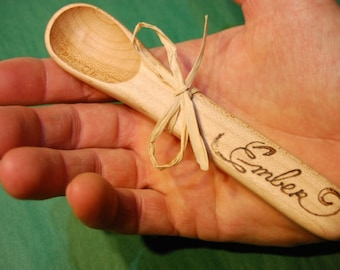 Custom Personalized Wooden Baby Spoon - stocking stuffer - party favors- christening gift