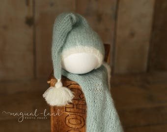 Elf hat set with blanket newborn photo prop