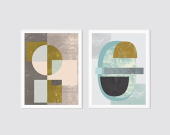 Print set, set of 2, modern wall art prints, mid century art, pastel wall art, mid century art print, textured prints, pastel art, art set