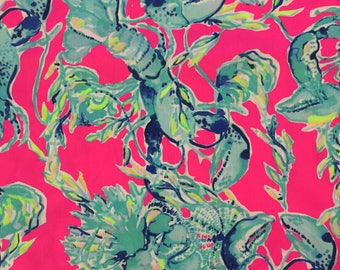 "raz berry lobsters in love dobby cotton fabric square 18""x18"" ~ lilly spring 2018 ~ lilly pulitzer"